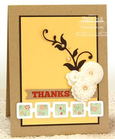 Retro Squares Die-namics, Scalloped Rolled Flower Die-namics, Rolled Flower Die-namics, Mini Rolled Rose Die-namics, Leafy Flourish Die-namics - Megan Lock