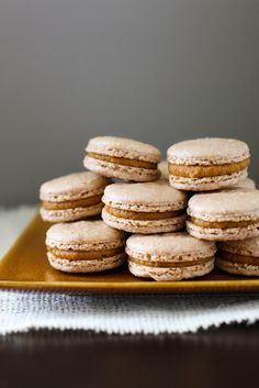 Pumpkin Pie Macarons - made these and loved them, my first attempt at macarons.  Too bad we gobbled them up in 1% of the time it took to make them.  Chances are I changed the spices and maybe the sugar, because that's how I roll.