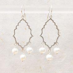 Selena White Pearl Drop Earrings