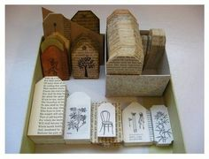 Tags using old books, use as table numbers