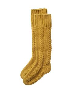 cable knit socks - I love this dijon color! would look fabulous under my boots!