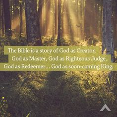 The Bible is a story of God as Creator, God as Master, God as Righteous Judge, God as Redeemer… God as soon-coming King.  www.elevationchurch.org