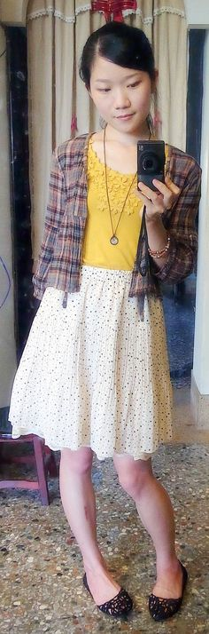 mustard top with lace + plaid linen 3/4 sleeve outer + cream pleated chiffon skirt + black flats + leather necklace.