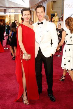 The newlyweds go for confident looks, Hunter in monochromatic red and Cumberbatch in a striking white blazer.    - HarpersBAZAAR.com