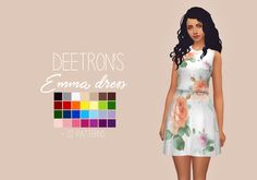 "purrsephonesims: "" Deetron's Emma Dress Recoloured Let me know if there are any problems. Please read my TOU before downloading! You can find it here All credit goes to @deetron-sims ● Standalone ●..."