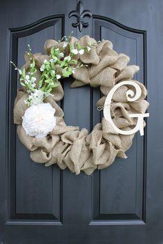 Burlap Wreath -  Wreaths - Summer Wreaths for door - Summer Wreath - Home Decor -Gift idea
