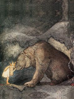 She kissed the bear on the nose (c. 1910 by John Bauer) (great illustrations of night time magic) Children's Fairy Tale Illustrator John Bauer, Art And Illustration, Book Illustrations, Princess Illustration, Fantasy Magic, Fantasy Art, Troll, Fairy Tales, Art Photography