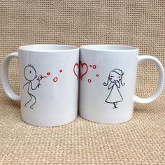 Két összeillő bögre, ahol a két fél adja ki az egészet. Ahogy egy igazi szerelmespár :-) #szerelem #szív #valentin #ajándék