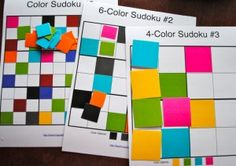 This would be cool with felt. Sudoku puzzles with color. Or you could even add numbers on the square to make it true sudoku. Great for older kids busy bags. High School Art, Middle School Art, Classe D'art, Art Sub Plans, Math Art, Homeschool Math, Math Classroom, Classroom Ideas, Math Centers