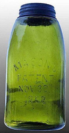 Mason's, Patent Nov 30th 1858, Olive Green, 12 Gallon.A half-gallon Mason's Patent Nov 30th 1858 fruit or canning jar in olive green