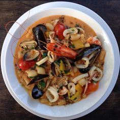 #cassoulet de la #mer #shellfishcassoulet  #clams #mussels #squid  #prawns #beans #tomato #etc #light #FrenchCuisine #DTLA #ChurchAndState  #tonightspecial #latimesfood #ouichef #bistrofood