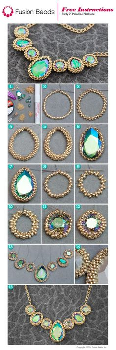 Learn how to make this Party in Paradise necklace beadweaving techniques for inc. - Learn how to make this Party in Paradise necklace beadweaving techniques for incasing gems - Seed Bead Tutorials, Jewelry Making Tutorials, Beading Tutorials, Seed Bead Jewelry, Beaded Jewelry, Handmade Jewelry, Seed Beads, Bead Jewellery, Jewellery Making