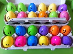 """I took some plastic eggs and a Sharpie and wrote capital letters on the tops and their matching lower case letter on the bottom half of the egg.  I used egg cartons to store these."""