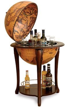 Merveilleux Svelte Bar Globe Opens To Reveal Your Finest Vintage Liquors. The Hidden  Liquor Storage Is Made From Hand Carved Italian Hardwood