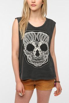 Truly Madly Deeply Lace Skull Muscle Tee 8-24-12 @MileyCyrus