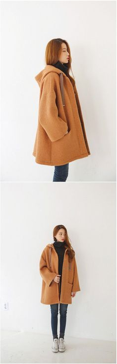 Cha Cha Hood Coat | Korean Fashion // i dont have the money for all the… #KoreanFashion