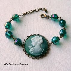 Deep Green Cameo Bracelet - The Supermums Craft Fair