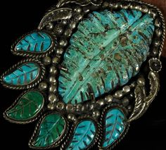 HUGE Old Pawn Vintage Navajo Carved Green Morenci TURQUOISE Sterling Pendant