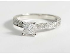 0.81 Carat Diamond Hand Engraved Micropavé Diamond Engagement Ring | Recently Purchased | Blue Nile