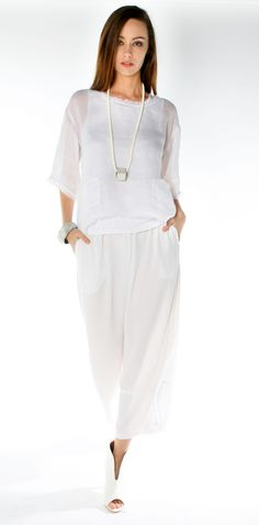 Morgan Marks Australia white linen gauze top, viscose crepe pants www.morganmarks.com.au Natural Clothing, White Fashion, Smocking, Style Me, White Dress, Spring Summer, Fashion Ideas, Sewing Projects, How To Wear