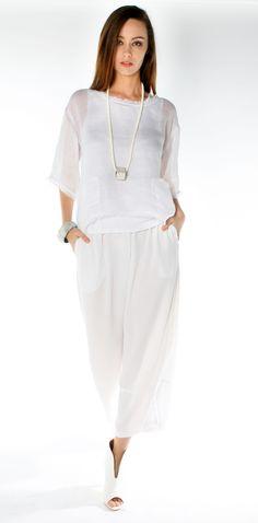 Morgan Marks Australia white linen gauze top, viscose crepe pants www.morganmarks.com.au