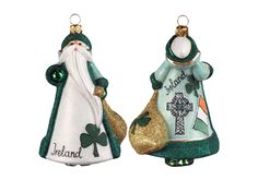Ireland Santa - Glitterazzi Ornament from FrontGate Traditional Christmas Ornaments, Glass Christmas Tree Ornaments, Santa Ornaments, Christmas Party Themes, Christmas Decorations, Holiday Decor, Holiday Style, Christmas Traditions, Holiday Gifts