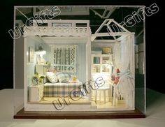 Dollhouse Miniature DIY Kit w/ Cover Blue Mood Dream Bedroom Sweet Home Love | eBay