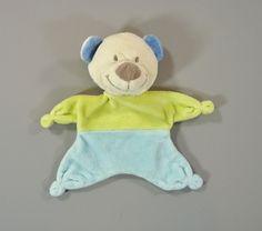 Doudou ours plat velours vert et bleu Nicotoy