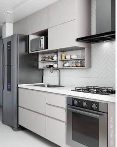 Kitchen Design Open, Country Kitchen Designs, Kitchen Cabinet Design, Kitchen Layout, Interior Design Kitchen, Studio Interior, Apartment Kitchen, Apartment Interior, Living Room Kitchen
