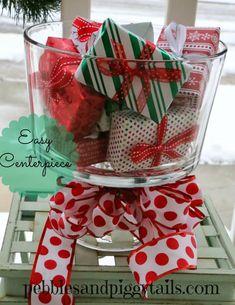 Pebbles and Piggytails:  Easy Christmas centerpiece using scrapbook paper.
