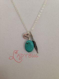 Turquoise stone feather charm necklace by CharmingLadybug on Etsy