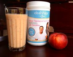 IdealShape Peach Surprise Meal Replacement Smootie -   1 Scoop Vanilla IdealShape Shake Mix - 8 oz. Skim Milk (Almond Milk or Water) - 1 Peach - Ice Cubes         #IdealShape