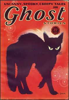 Ghost Stories book with Black cat on cover Retro Halloween, Halloween Books, Halloween Images, Halloween Horror, Halloween Town, Halloween Ideas, Happy Halloween, Samhain, Kitsch