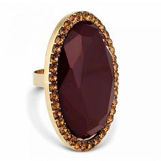 Designer brown oval stone adjustable ring