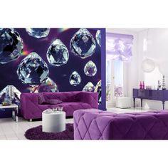 Imaginative purple decor idea with a wallpaper mural! Contemporary and chic wall decor. Crystals Wall Mural - 8-737 Crystals Photomural #purple #wallpaper