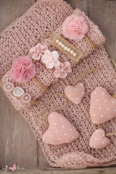SET Knit Newborn Dusty Rose Wrap, 2 Tiebacks of Your Choice (Flowers, Circles, Pearls) + Plus 4 Hearts Decorations / Newborn Photo Props by SoftButterflyKiss on Etsy