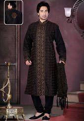 Black Dupion Silk Readymade Kurta with Churidar