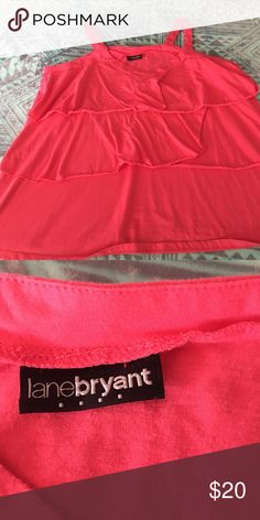 Ruffle Hot Pink Tank Lane Bryant hot pink blouse. Tank top Blouse with ruffles down the front. No ruffles in the back of the blouse. Someone cut the tag out but I believe it is a 2XL. Fits true to size. Lane Bryant Tops Tank Tops