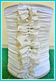 DIY Knotted shabby chic lamp shade (or trash can…or anything you want to recover!)