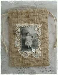 burlap and cloth sachet