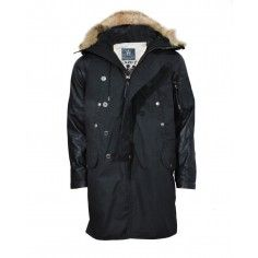 Bolongaro Trevor Carnaby Parka with leather sleeves and fur trim hood.