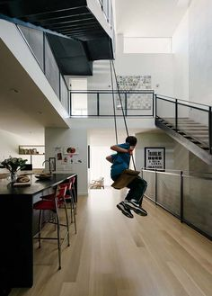 Indoor Swingset @ Modern #townhouse in San Francisco designed for playful living