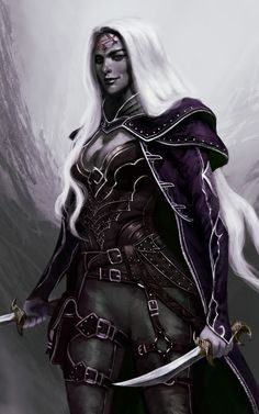 f Drow Elf Rogue Arcane Trickster Leather Armor Cloak Dagger Sword Poison female ArtStation by Mauro Alocci lg Elfen Fantasy, Fantasy Rpg, Dark Fantasy Art, Medieval Fantasy, Fantasy Girl, Fantasy Artwork, Fantasy Portraits, Dungeons And Dragons Characters, Dnd Characters