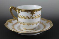 Dainty Antique Limoges Gold Gilt Klingenberg 1900 1910 Demitasse Cup Saucer