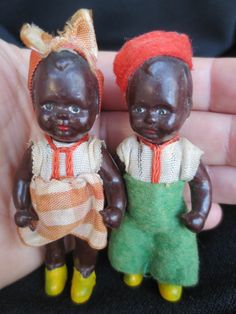 Adorable pair vintage plastic celluloid EDI Germany rare black americana dolls