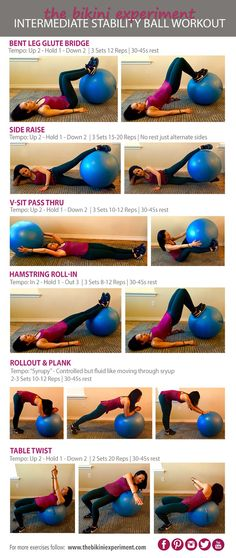 Intermediate Stability Ball Workout. Fitness routine that incorporates the stability ball that can be done at the gym or as an at home workout.