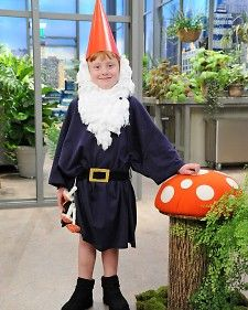 """Gnome costume made with some cotton balls and other dollar store materials from """"Martha Stewart Show"""" crafter Kristin St. Clair."""