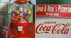 Vintage Gumball Machine and Coca Cola