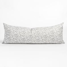 This large lumbar pillow features a block print style botanical motif in shades of grey. Swirling floral vines layered on an earthy background creates a transitional look that is both pretty and casual with a slightly exotic flair that will look beautiful paired with soft greys or mixed with other blue tones. Kitchen Banquette, Entry Bench, Bed Pillows, Lumbar Pillow, Simple Bed, Shimla, Large Sofa, Grey Stone, Cotton Lights