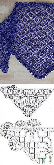 Cloth spider pattern with decorative edge Crochet stitches, crochet shawl, crochet scarves Cloth spider pattern with decorative edge Source by Crochet Diy, Filet Crochet, Poncho Au Crochet, Mode Crochet, Crochet Shawls And Wraps, Crochet Motifs, Crochet Diagram, Crochet Stitches Patterns, Crochet Chart